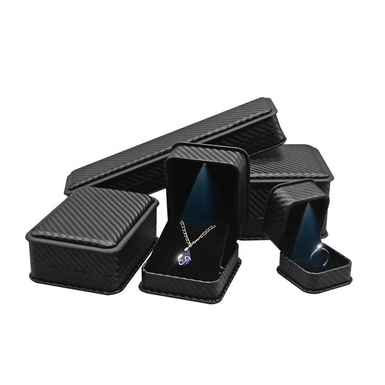 LED light jewelry packaging box luxury black Pendent storage box leather jewelry box