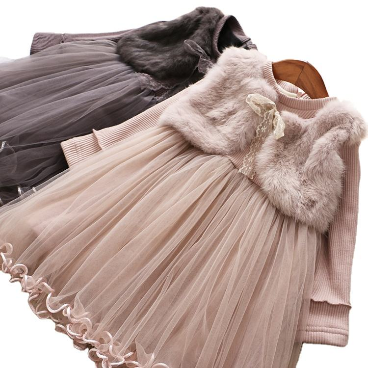 Girls Dress Fur Warm Winter Christmas Autumn Dresses For Kids Girl Clothes 5 6 years Children Birthday Princess Tutu Costumes