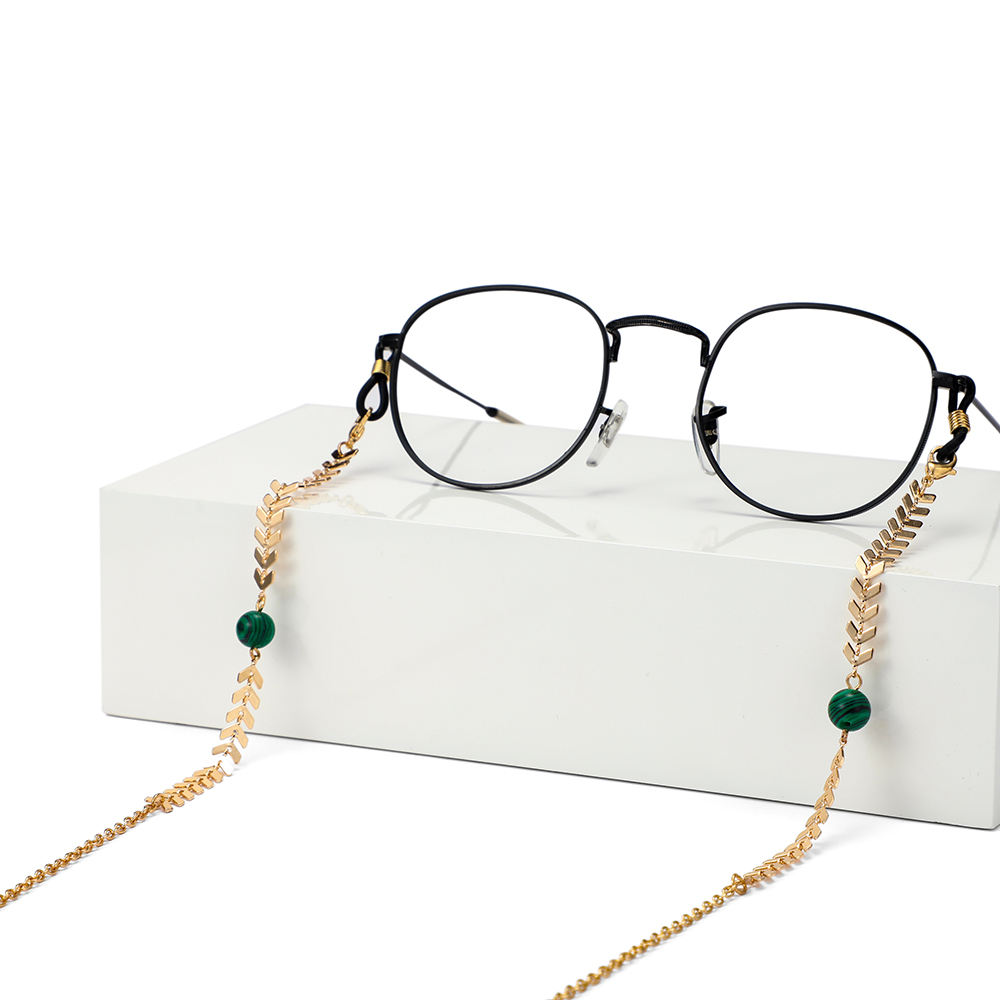 The latest fashion eyeglass chain crystal chain jewelry gold plated stainless steel beaded chain ladies