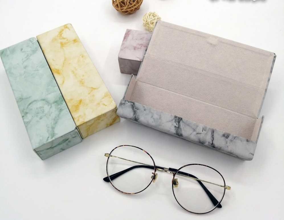 Customized Wholesale Fashion Marble Patterned Glasses Case Simple Portable Pure handmade Mirror Case
