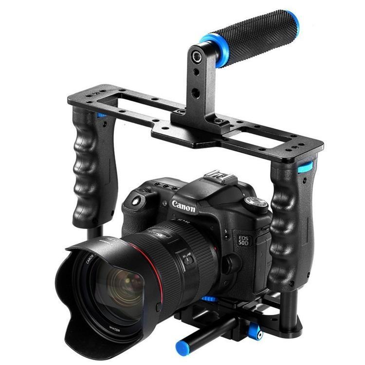 Professional Aluminum Alloy DSLR Camera Cage SLR Video Cage with Top Hand Grip Level handheld handle for Canon 5D mark II/III