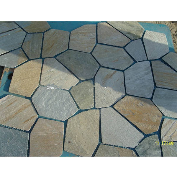 Outdoor natural slate flagstone stepping paving stones flag floor tile with mesh backing