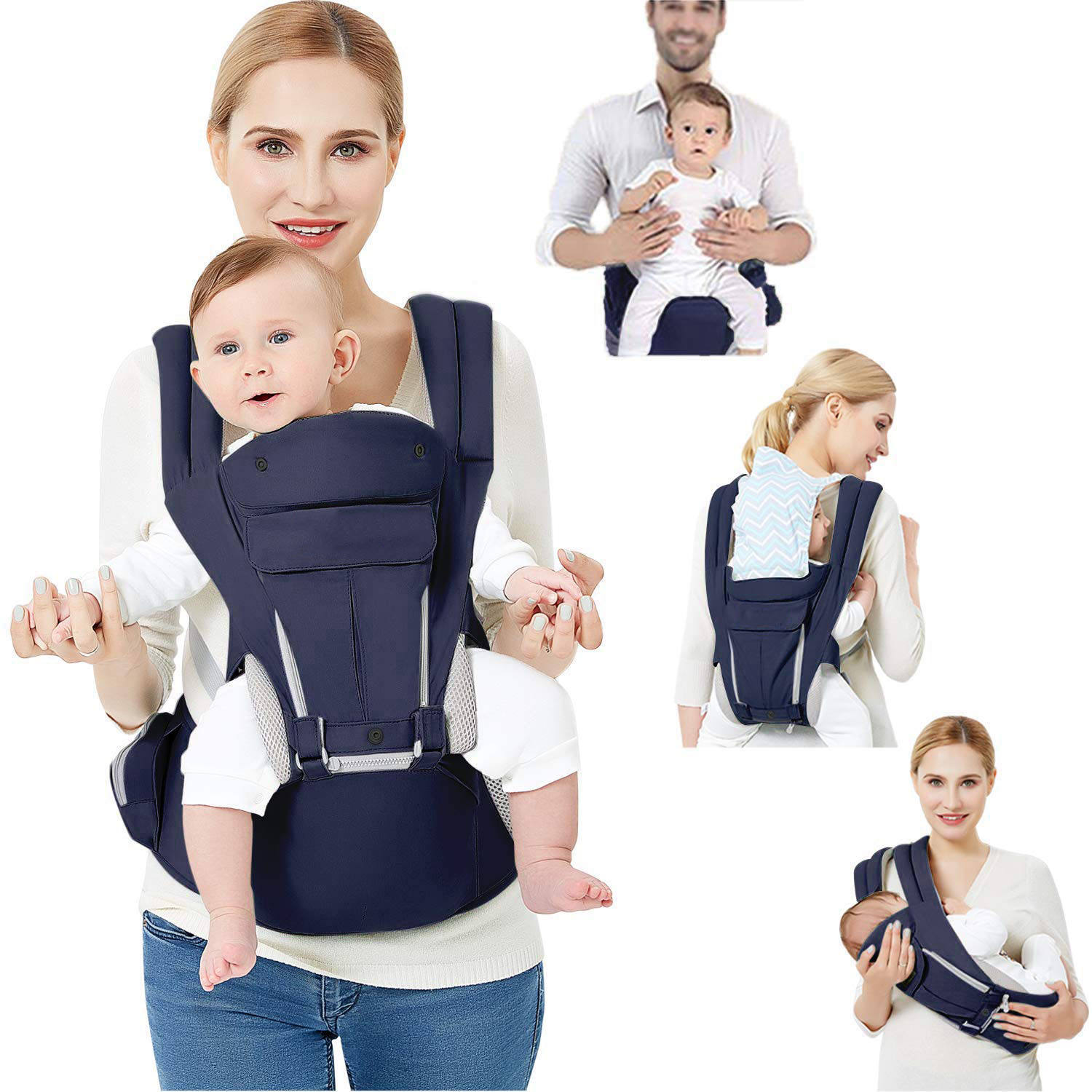 ISO9001 Supplier Ergonomic Breathable Cotton Lightweight Multiposition Hip Rest Baby Carrier