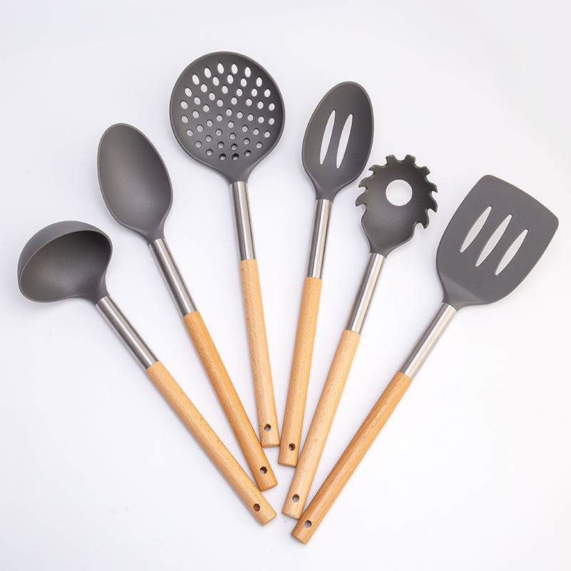 Nylon Kitchen Utensils Sets Wood Soup Ladle Tools Spoon Spatula