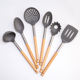 Custom 6 pcs Nylon Kitchen Utensils Sets with wood Handle Soup Ladle Noodles Tools Round Slotted Spoon Spatula Cook Accessories