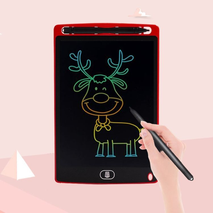 8.5 inch LCD Handwriting Board Children Drawing Graffiti Handwriting Board, Style:Colorful, Frame Color:Red