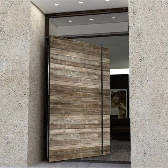 Foshan Revoliving Hinges Waterproof Large Designs Modern Wooden Pivot Entry Doors