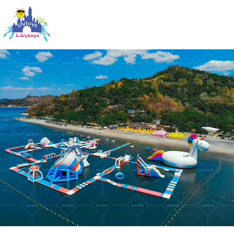 Advantageous popular inflatable obstacle sporting floating water park for lake & sea