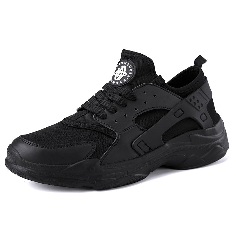 Fashion trend men's casual shoes large size black high-end men's sports shoes