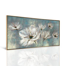 Handmade Modern Canvas Painting White Flower Art Picture Abstract Oil Painting for Wall Decor
