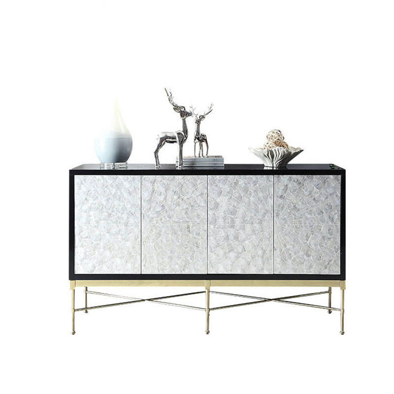 Plywood high gloss painting top stainless steel legs italian black sideboard