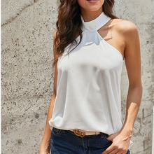 Ladies halterneck casual blouse women's chiffon sexy sleeveless blouses