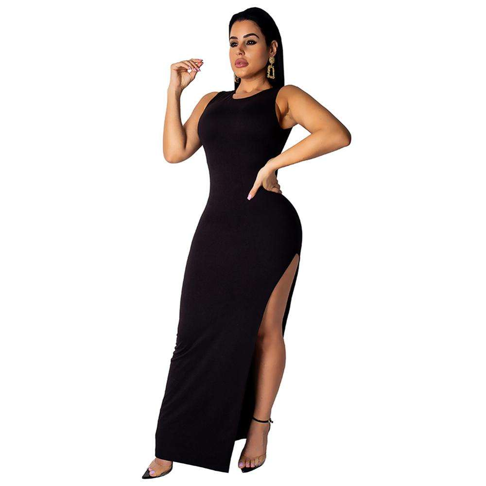 Wholesalse Fashion Classic Black Button Back Round Neck Maxi Dress Versatile Item