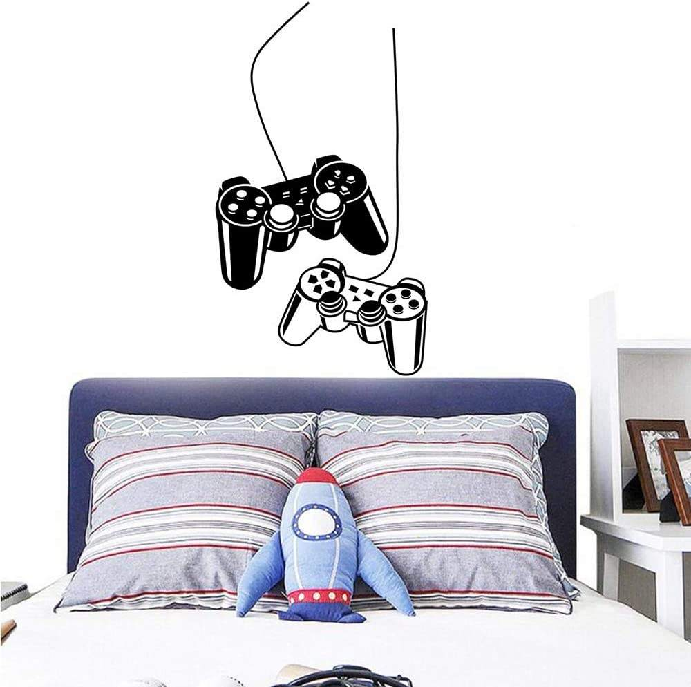 Gamer Fans Wall Decals Stickers Game Controller Poster for Boys Gift,Vinyl Peel and Stick Gamer Quote Decor for Play Room