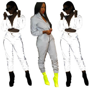 Customized Tracksuit Reflective Blank Tracksuits High Quality Designers Wholesale Tracksuits Women Casual Two Piece Basic Sets