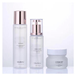 Excellent quality latest glass cosmetic bottle set glass cosmetic bottle and jar cosmetics cream glass bottles and jars