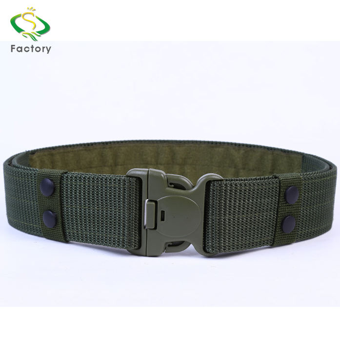 Durable Green Tactical Police Belt Army Military Uniform PP Webbing Belt No Hole