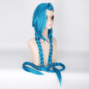 Ainizi cheap price high quality 47'' long braid hair League of Legends Jinx cosplay wigs for cosplay lovers