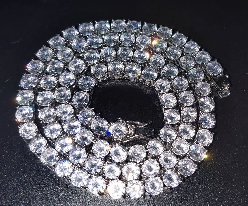 iced out bling men necklace wholesale prong 5mm cz tennis chain