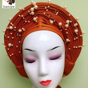 2019 New Design Aso Oke Head Tie for lady party african gele headtie Gele with stone Comes