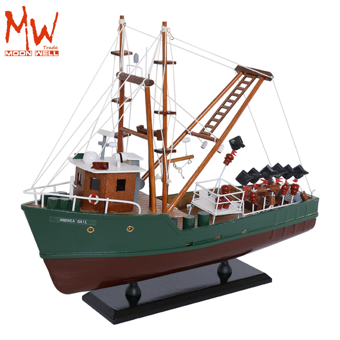 Authentic models wooden shimp crab fishing boat Andrea Gail movie the perfect storm handcrafted model ship trawler model 16''