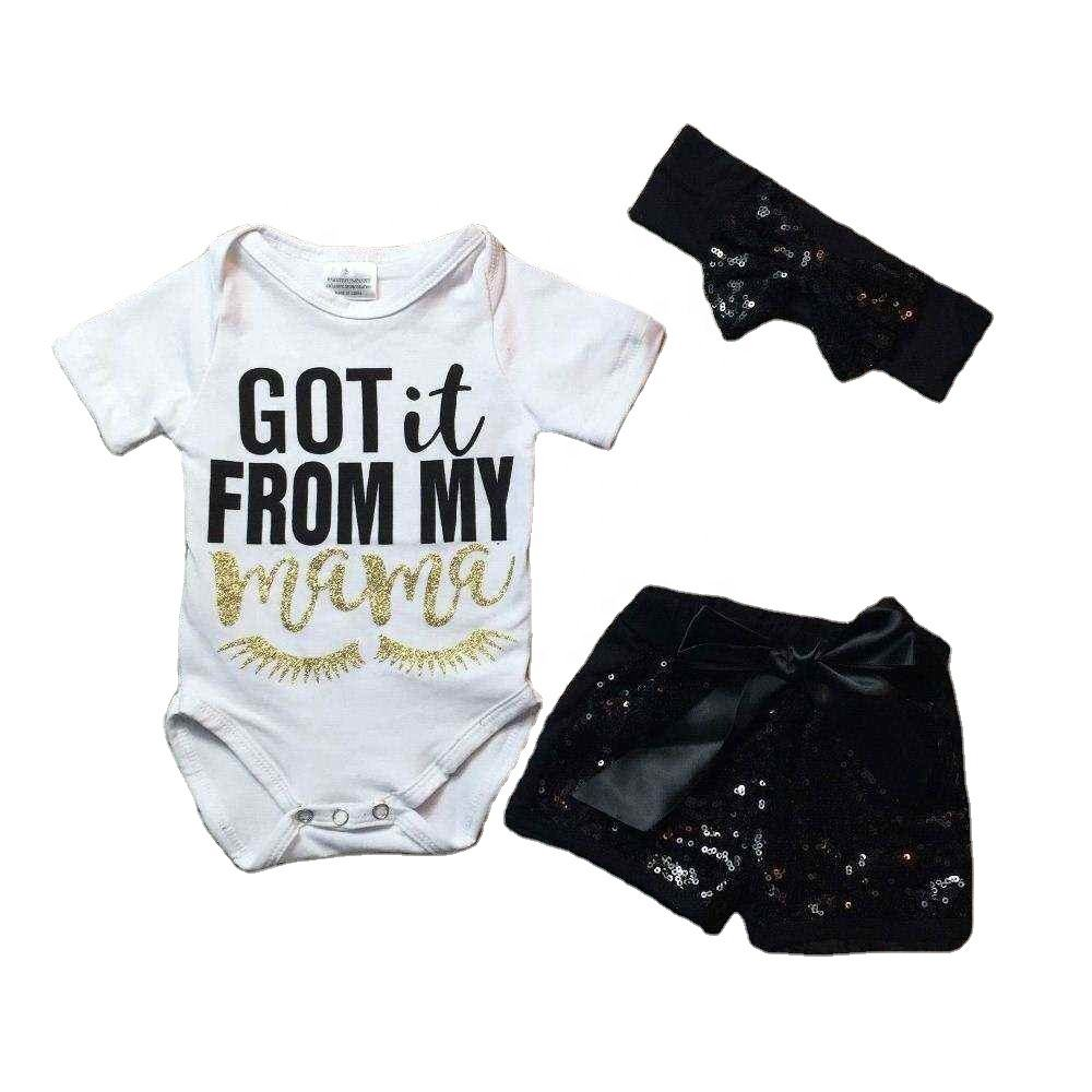 infant baby girls boutique clothing sets toddler outfits got it from my mama romper with black shorts gwith headband