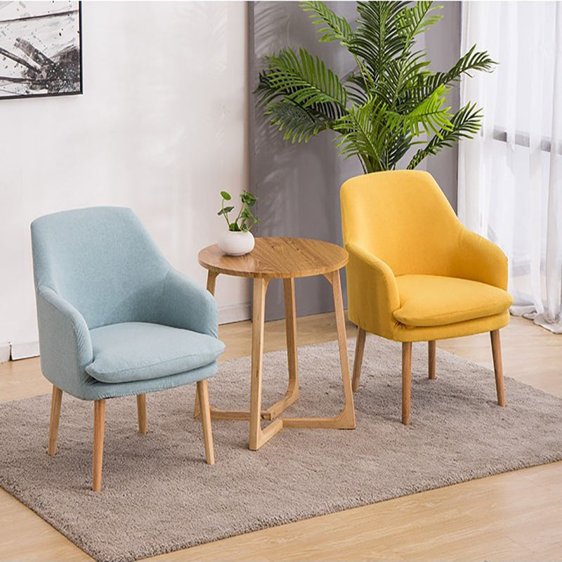 Cheap price dining room furniture wood legs chairs comfortable soft fabric dining chair with cushion