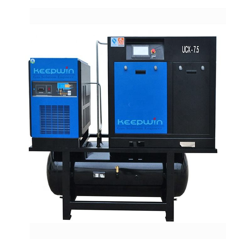 7.5KW 10HP 8bar Combined Screw Air Compressor Include Dryer Energy saving 15% rotary screw air compressor