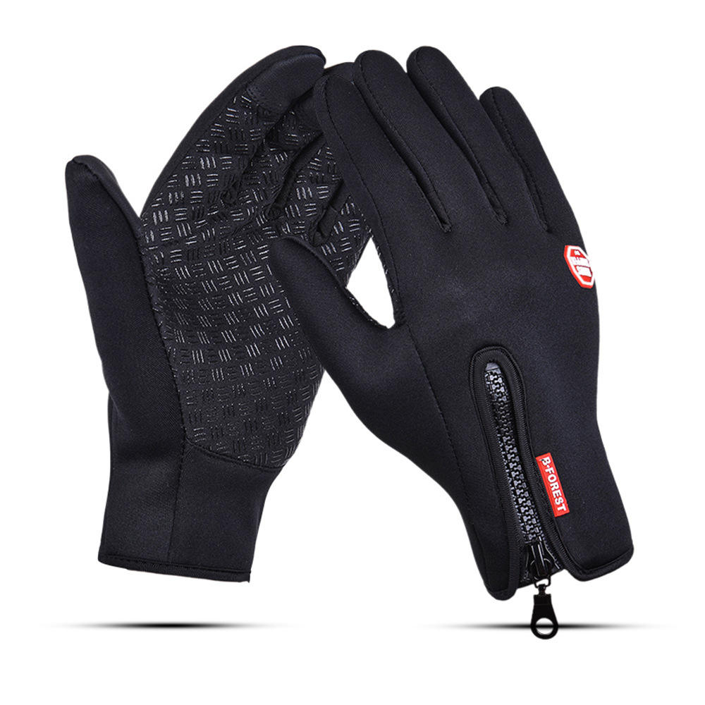Waterproof Warm Outdoor Winter Touchscreen Zipper Gloves for Anti Slip