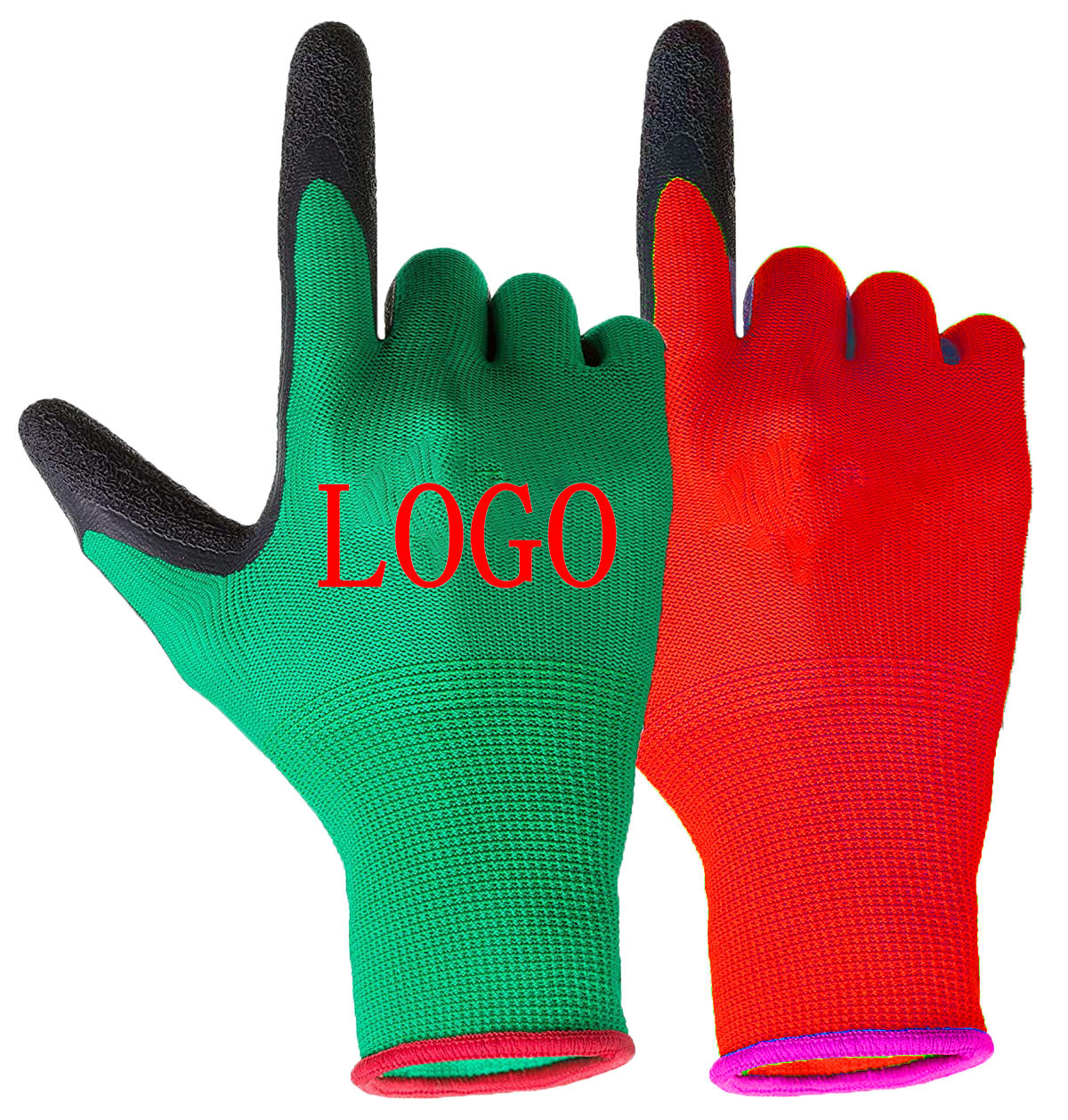 cheap custom logo latex hand gloves industrial work safety gloves easy grip latex black red for construction garden