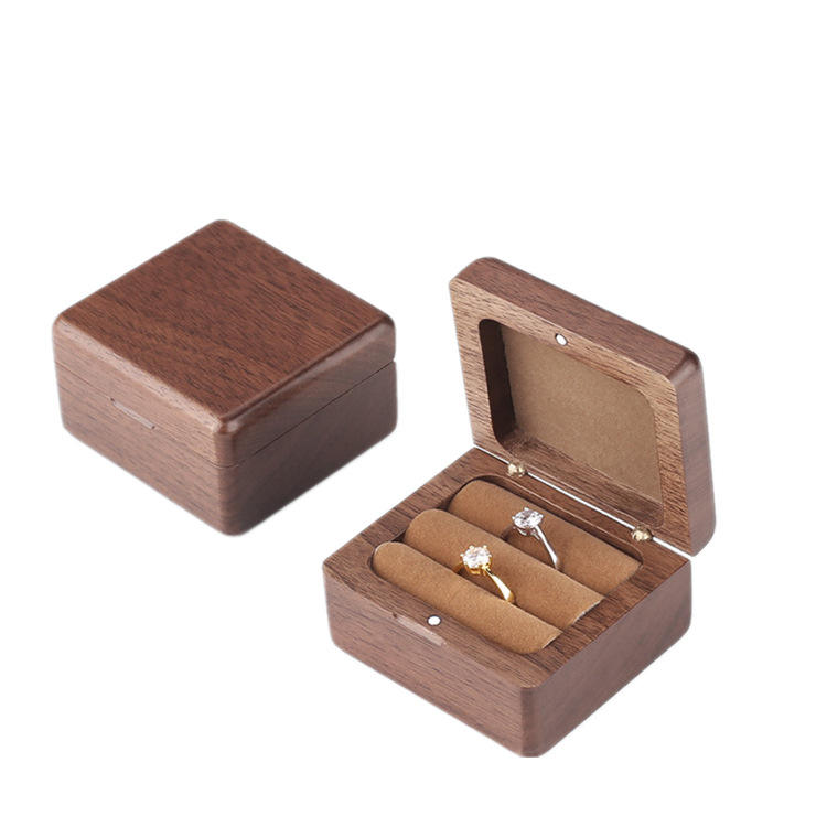 Wooden Small New Magnetic Jewelry Gift Box Laser Engraved Logo Wood Bamboo Ring Box