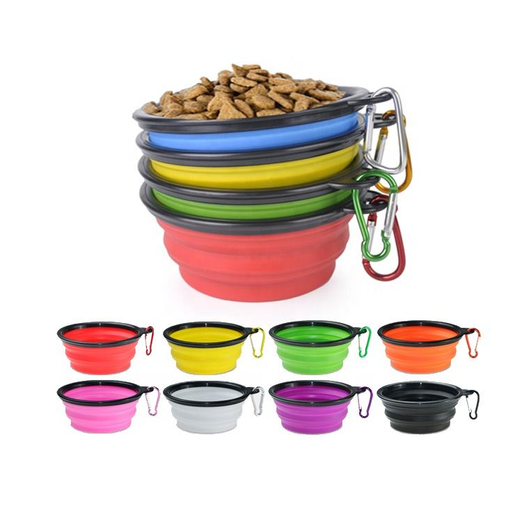 Amazon Custom Bpa Free Food Grade Pet Cat Dog Food Water Feeding Travel Silicone Portable Collapsible Dog Bowl