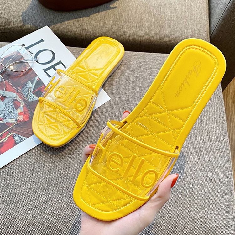Superstarer 2020 Newest transparent strap printed slide sandals colorful flat clear women jelly sandals