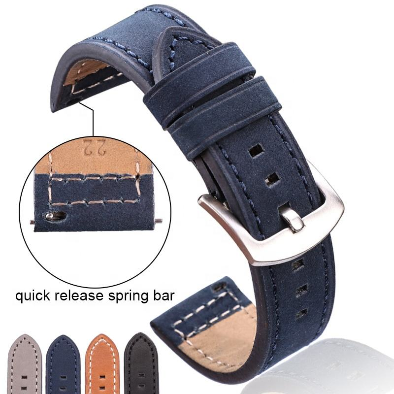 Genuine Leather Watchbands Bracelet Black Blue Gray Brown Cowhide Watch Strap For Women Men 18 20mm 22mm 24mm Wrist Band