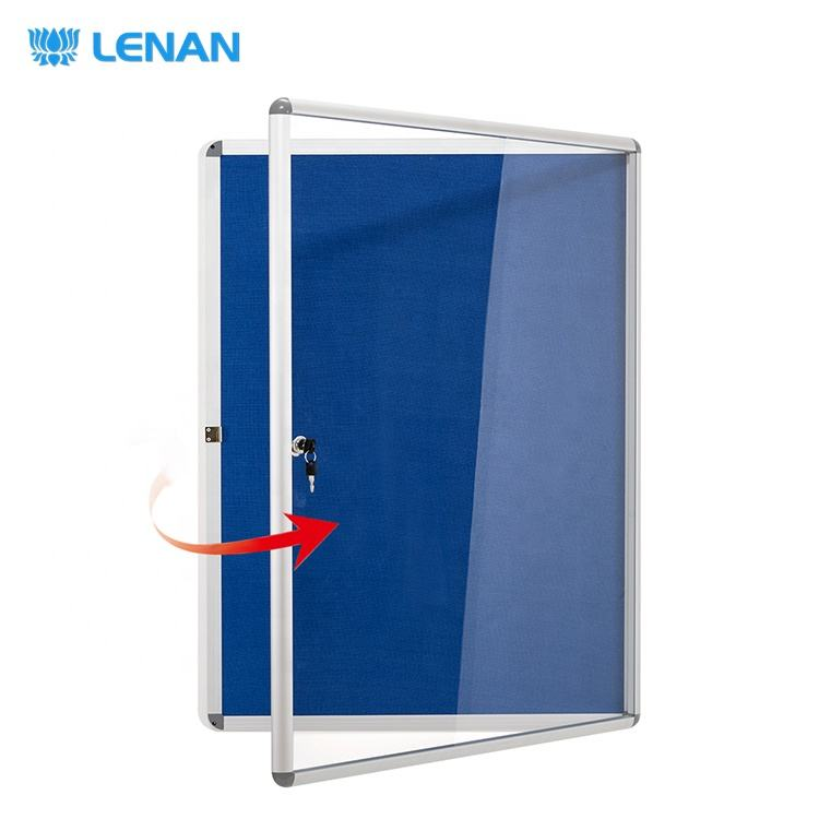 High quality wall mounted lockable bulletin board blue fabric felt showcase notice board with glass door