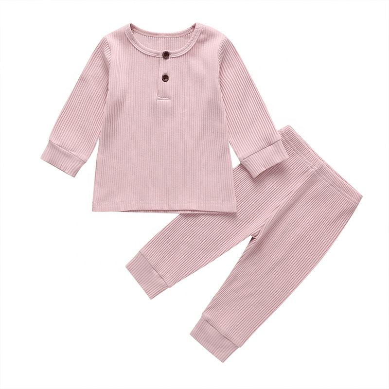Baby Long Sleeve Summer New Design Cotton Ribbed Romper Wholesale Kids Pajamas Suit