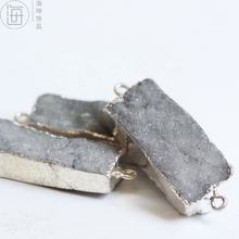 Craft Supply-Gemstone-Natural Hand Cut- Silver Tone Framed-Plated Agate Druzy Connector - Rectangle 39*14mm (ZH565-1)