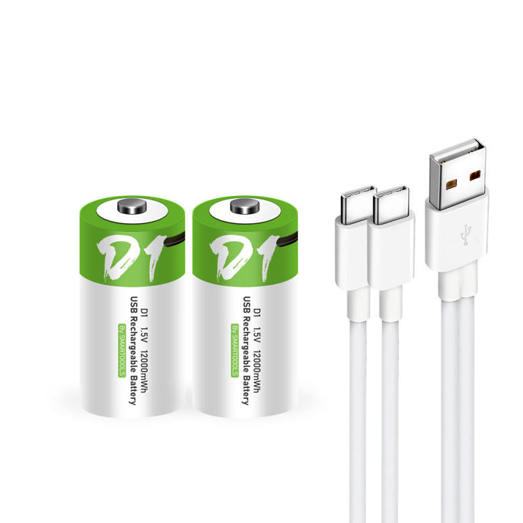 Repeated USB Reusable Rechargeable D Batteries 1.5V Type-C Port Charging USB D Battery 1 Pack 12000mWh