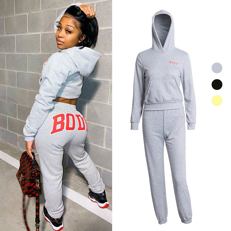 Fast Shipping Streetwear Fashion Autumn Winter Women Clothing Solid Ladies Casual Sports Set Hoodie Top Two Piece Pants Set