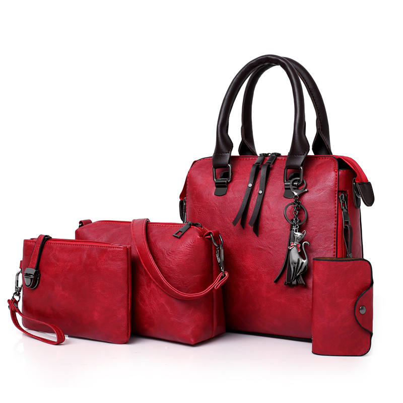 Wholesale Classic Fashion women Shoulder Tote hand Bag pu Leather Ladies 4 in 1 Set Handbags