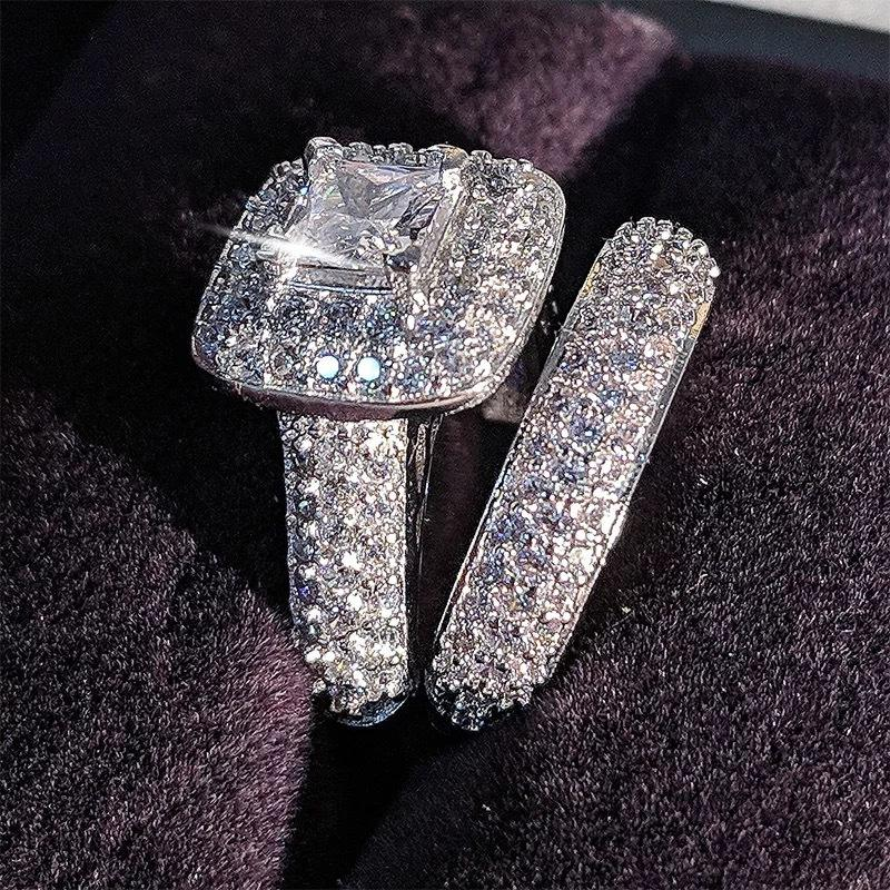 Trendy Luxury Brass Wedding Ring Set band for bridal girls and Women ladys love couple pair jewelry