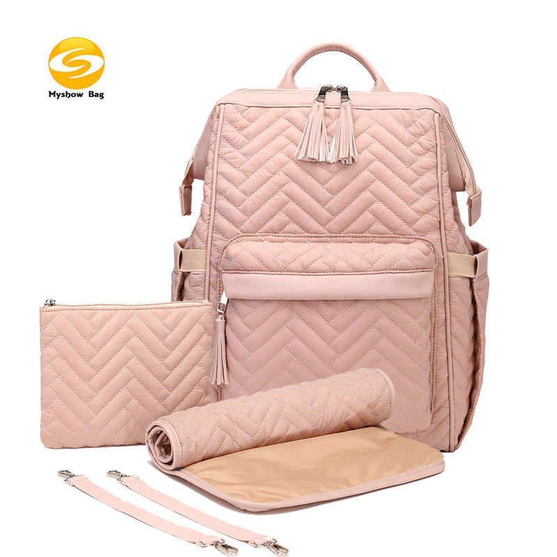quilted nylon diaper bag backpack,2020 new design pink diaper bag baby bag for mom send free wipe pouch and changing pad