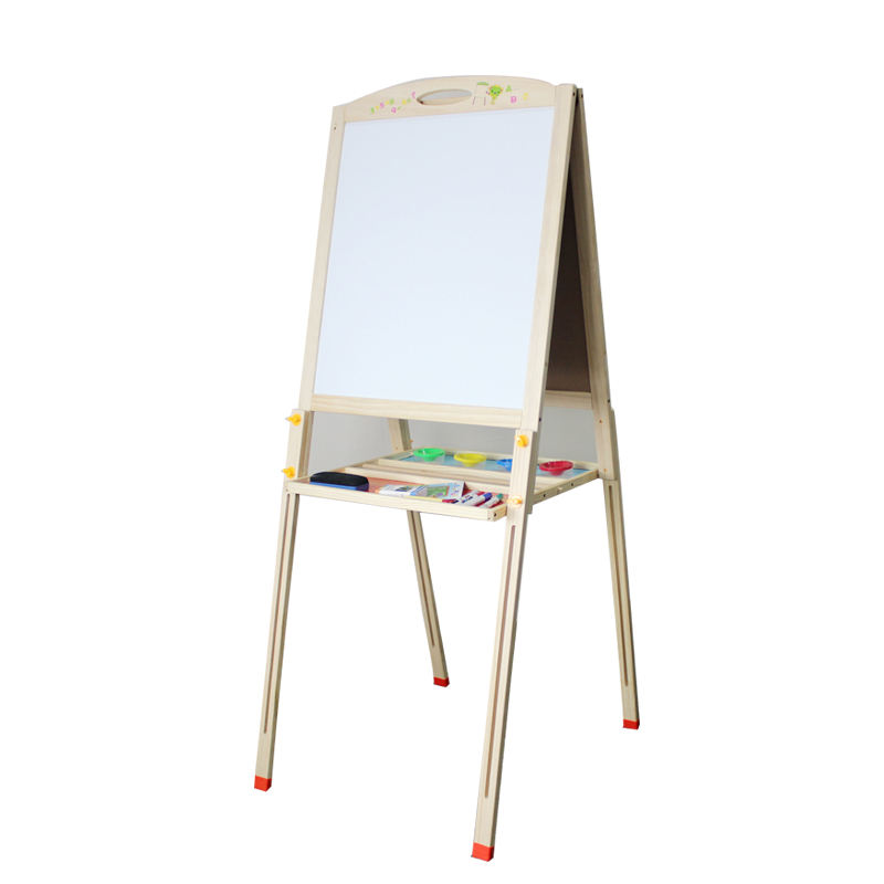 High Quality Multifunction Double-side Wooden Drawing Board Wholesale Customized Magnetic Kids Painting Kits Toy