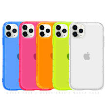 for iPhone 11 Case Fashion Jelly Clear Neon Fluorescent Phone Case for iPhone Case Neon