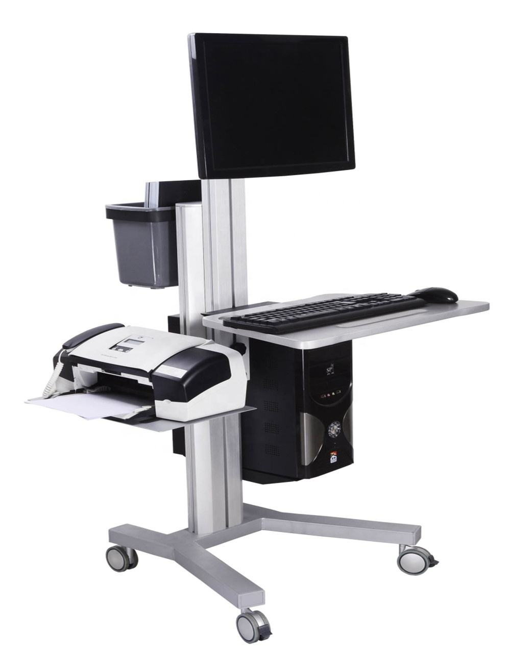 Moving Industrial Laboratory Nursing Medical Hospital Workstation Rolling Mobile Computer Crash Monitor Cart Trolley with Wheels