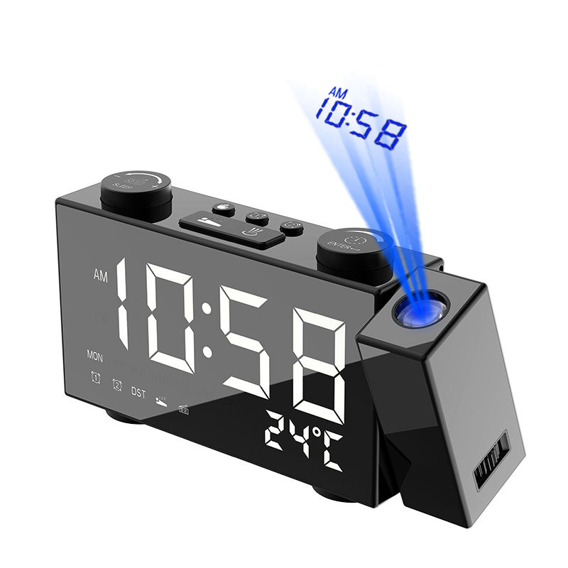 NEW mold USB rechargeable digital alarm clock FM radio with phone charging and projection