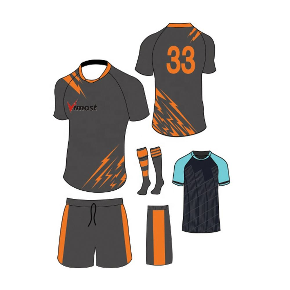 Ensemble d'uniforme de football, poignets par sublimation, costume de rugby personnalisé