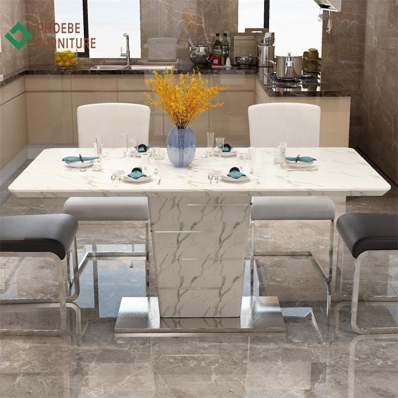 Marble dining table set furniture chair and table dinning room set 6 chairs