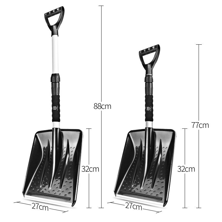 Portable Plastic Snow Shovel Snow, Snow Shovel Aluminium Handle, Twist Lock Snow Pusher Function Snow Shovel For Car
