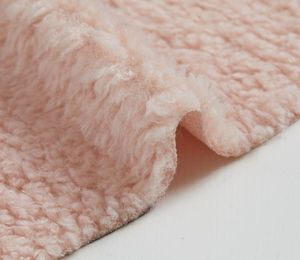 Pink Color Wholesale Curly Fake Fur Fabrics Artificial Fur Fabric Cheap Fur Fabric